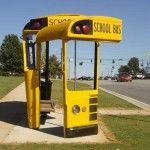 Bus Shelter made from Salvaged School Buses