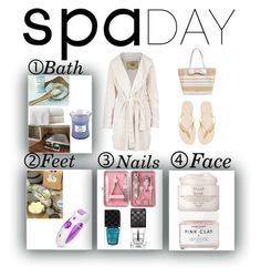 """""""Relaxing Spa Day"""" by prettydest1 on Polyvore featuring beauty, Kate Spade, Havaianas, Gucci, Herbivore, Fresh, UGG Australia, Peacock Alley, WoodWick and spaday"""