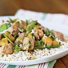 Superfast Stir-Fries and Sautés | Coconut Curried Pork, Snow Pea, and Mango Stir-Fry | CookingLight.com