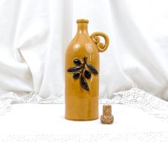 Vintage French Yellow Glaze Embossed Olive Branch Pattern Ceramic Bottle Provencal Style for Olive Oil, Retro, French Country, Provence, by VintageDecorFrancais on Etsy