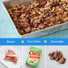 "Irresistible Chocolate + Bacon Chex Mix You had us at ""bacon."" The secret to extra flavor is all in how you bake this crazy-good party mix. No one will be able to pass it up!"