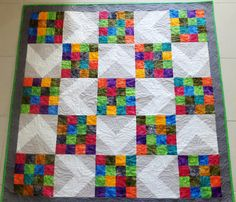 Colourful modern patchwork quilt lap quilt throw by StephsQuilts