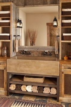 Farm Cabin Bath Rustic Master Bath. Like the shelves on either side of big mirror