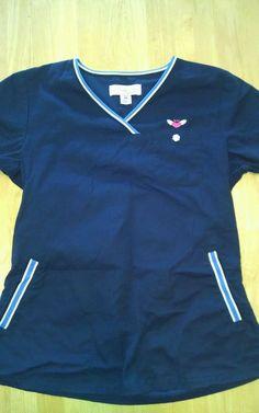 Koi ashley scrub top xs extra small navy blue