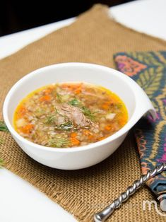 Buckwheat Soup Recipe - can sub on-bone chicken for red meat