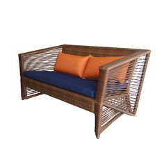 The breezy lines of this two-seat sofa recall the winds of eastern tropics. UV and weather-resistant, this outdoor furnishing is solidly constructed by wrapping resin wicker over a rust-proof aluminum frame.