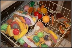 Washing toys inside a lingerie bag in the dishwasher.