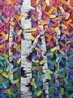 Colourful Aspen Trees Birch Tree Forest Nature Art Painting by Canadian Contemporary Landscape Artist Painter Melissa McKinnon Forest Painting, Abstract Landscape Painting, Landscape Art, Landscape Paintings, Contemporary Landscape, Landscapes, Nature Paintings, Tree Paintings, Art Nature