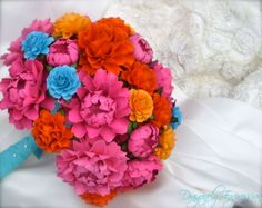 Handmade Paper Flower Wedding Bouquet - Customize your Style and Colors - Made To Order by DragonflyExpression on Etsy https://www.etsy.com/listing/121420854/handmade-paper-flower-wedding-bouquet