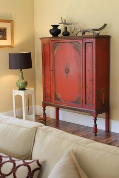 Vintage Red Asian Cabinet   Traditional   Living Room   Los Angeles    Madison Modern Home