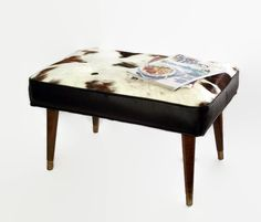 Mid Century Modern Upcycled Footstool Bench   Cowhide Leather   Hair On  Hide   Ottoman