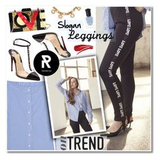 """On Trend:Slogan Leggings"" by sheisrebel ❤ liked on Polyvore featuring rag & bone, Christian Louboutin, Diophy, Tory Burch and Deborah Lippmann"