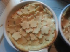 Chicken pot pie, fancy style. Cut out pie with little cookie cutters and decorate the top for a prettier display.