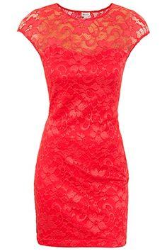 Coral Lace Dress! Cute!
