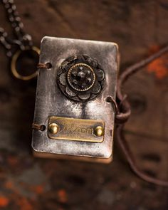 Bloom - Soldered Wearable Book with Vintage Steel-cut Button, coptic bound with eco dyed pages