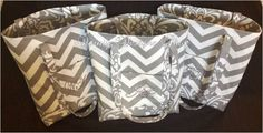 """MARCH  SALE - 12"""" x 14"""" Grey Chevron Tote Bag Coordinated Grey Damask - FREE Grey Embroidered Monogram by daintydesignsshop on Etsy"""