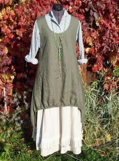Купить №036 Льняной сарафан-туника - хаки, однотонный, сарафан, жилет, туника, льняная одежда