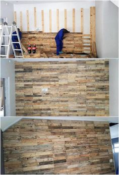 Check out this wall paneling effect where the overall dramatic use of the wood pallet has been fabulous shared out. Thus, this wood pallet design has been all covered dramatically over the wall with the linear pattern texture work resting over on top of it. Did you love it?