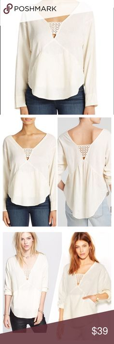 Free People Just Cruisin Pullover top in Ivory B44 FREE PEOPLE LONG SLEEVE SOLID 'JUST CRUISIN' PULLOVER TOP in IVORY Embrace the day in Free People's crochet-paneled top, complete with front welt pockets. V-neckline Pullover style Bust measured underarm to underarm.. Approx: inches, MEDIUM: 22 inches, Length 28 to 30 inches Long sleeves Solid knit with banded crochet detailing at front and back Off-seam welt pockets at front waist Easy fit Hits at low hip Linen/rayon Machine wash Free…