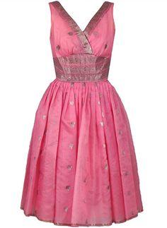 Pre-owned Metallic Baby-Pink Organza Shelf-Bust Party Dress & Shawl Low Cut Dresses, Trendy Dresses, Day Dresses, Evening Dresses, Summer Dresses, Dress Outfits, Vintage Outfits, Vintage Dresses, Swing Rock