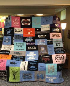 A beautiful mosaic style t-shirt quilt
