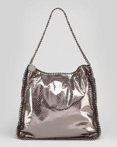 Metallic Snake-Embossed Hobo Bag, Gray by Stella McCartney at Neiman Marcus.