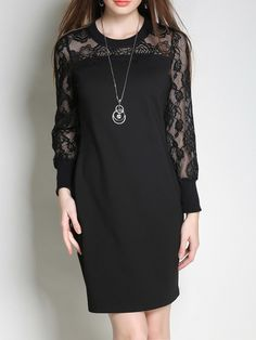 #AdoreWe #StyleWe Mini Dresses - Designer MINGYSYI Elegant Sheath Guipure Lace Paneled Long Sleeve Mini Dress - AdoreWe.com