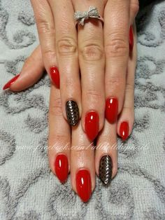 Black and red almond nails