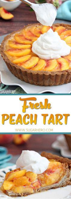 Fresh Peach Tart - the BEST way to enjoy peaches! Featuring juicy ripe peaches in a buttery tart shell | From SugarHero.com #SugarHero #tart #pie