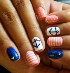 Anchor nails Beautiful nails 2020 Beautiful summer nails Bright summer nails Manicure by summer dress Marine nails Nail art stripes Nails nautical Nail Art Design Gallery, Best Nail Art Designs, Nail Designs Spring, Cute Spring Nails, Bright Summer Nails, Marine Nails, Anchor Nails, Nail Art Stripes, Nail Manicure