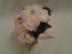 Poly foam roses bridal posy with silver beading decoration.