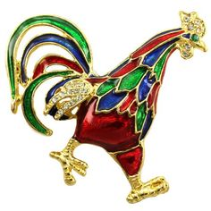 Rooster Brooch - Valentine's Day Chicken Presents for Chicken Lovers
