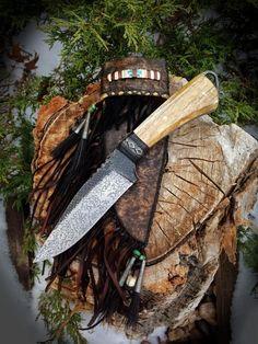 Forged Frontier custom knife with giraffe bone.