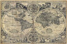 Large Historic 1626 Old World Map Antique Restoration Hardware Style Unique Fine Art Poster Print Wall Decor - pinned by pin4etsy.com