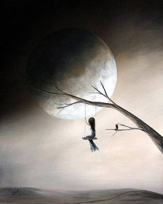 Black and grey girl on a swing with full moon and tree silhouette - Google Search