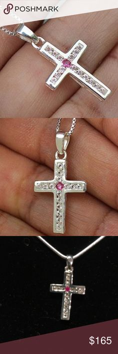 """Gorgeous ruby and white topaz stones w/925SS cross Gorgeous 100% natural ruby and white topaz faceted stones .35 ctw in a solid 925 Sterling silver cross with 925SS necklace of your choice 16–30"""" JPS Jewelry Necklaces"""