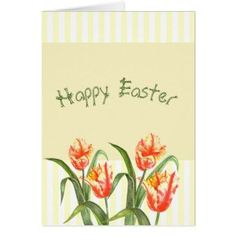 Watercolor Yellow Parrot Tulip Floral Happy Easter  Piece Box Of