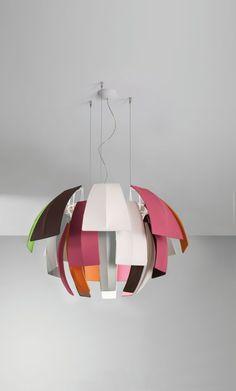 Fluorescent fabric pendant lamp PLUMAGE by AXO LIGHT | Design Vanessa Vivian