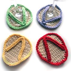 Crocheted Flip Flop Coasters for Wine Glasses: Cute Idea For Wine Glass Markers