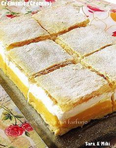 Prajitura Cremsnit este o prajitura pe cat de cunoscuta pe atat de buna. Cookie Desserts, Easy Desserts, Dessert Recipes, Hungarian Desserts, Good Food, Yummy Food, Romanian Food, Vanilla Cake, Sweet Recipes