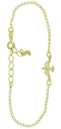 Pulseira folheada a ouro c/ corrente e uma pomba simbolizando o Espírito Santo. www.joiasfolheadasdiretodafabrica.tk