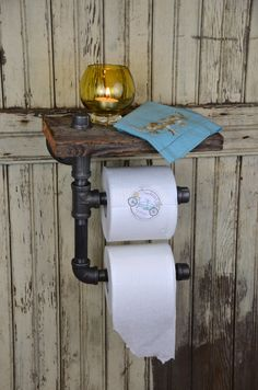 Handmade Barn Board & Pipe Double Roll Toilet Paper Dispenser and Handy Shelf with Custom Options.