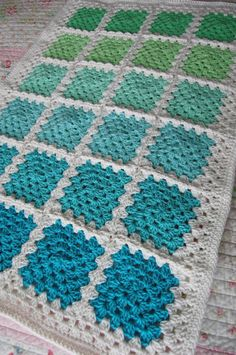 Crochet Granny Square Baby Afghan Blanket - Aquaholic - Aquas and Greens on White