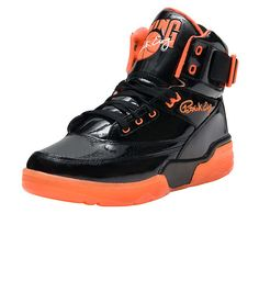 EWING+High+top+men's+sneaker+Patent+leather+all+over+Lace+up+closure+Leather+upper+Patrick+Ewing+signature+on+tongue+Adjustable+velcro+strap+detail