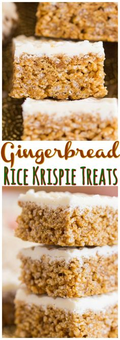 Gingerbread Rice Krispie Treats - The Gold Lining Girl hese Gingerbread Rice Krispie Treats get a festive kick of flavor from the addition of ginger, molasses, and crushed gingersnaps! Topped with a smooth, creamy layer of melted white chocolate! Rice Krispy Treats Recipe, Rice Crispy Treats, Rice Krispies Treats, Rice Krispie Bars, New Year's Desserts, Dessert Recipes, Rice Recipes, Fudge Recipes, Dessert Bars