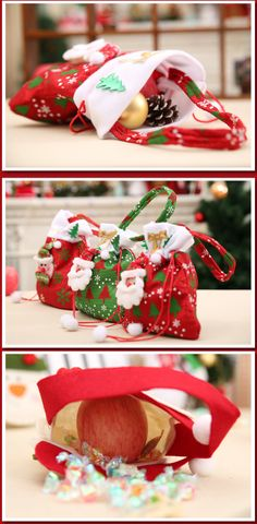 d457f01b1513 1.85  buy now 2019 Red Colorful Christmas Tree Santa Claus Snowman Pattern  Candy Bag Handbag