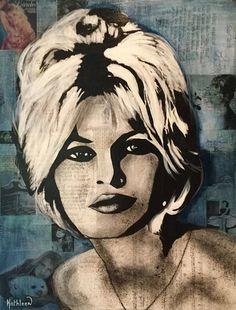 Art Technique Mixte Media sur Panneau Peinture Acrylique Black Art Collections Moderne de BRIGITTE BARDOT par Kathleen Artist PRO