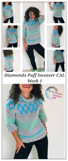 Crochet Patterns Top Diamonds Puff Sweater Week About the design, materials needed, seams …. Crochet Pullover Pattern, Cardigan Pattern, Top Pattern, Black Crochet Dress, Crochet Blouse, Knit Crochet, Crochet Sweaters, Crochet Tops, Hippie Stil
