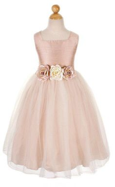 ball gown blush sleeveless tank straps tulle flower girl dress with flowers  Child Bridesmaid Dresses 9521309b8fd8