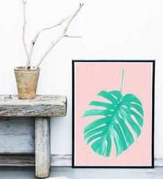 Palm Print Printable Art Palm leaf Art  by exileprints on Etsy